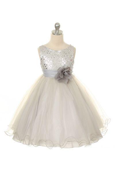 Dievčenské šaty na svadbu Roxy strieborné ⋆ Detskesaty cf3430059b3